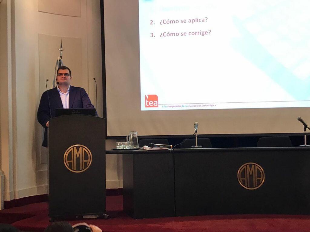 Curso de Capacitación en SENA y Matrices, evaluaciones de TEA Ediciones a cargo de uno de los autores, Mgtr. Fernando Sánchez Sánchez, en la Asociación Médica Argentina, en Buenos Aires – 2017